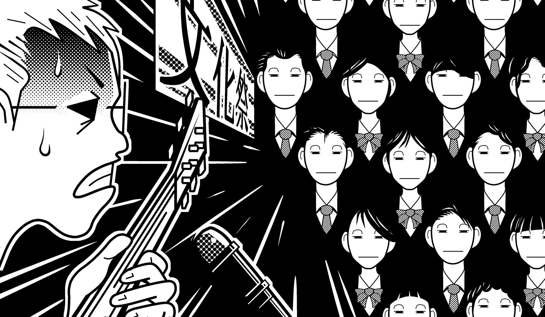 宮脇流セッション・ギタリスト養成塾全校生徒の前でソロ・ギターを演奏。
