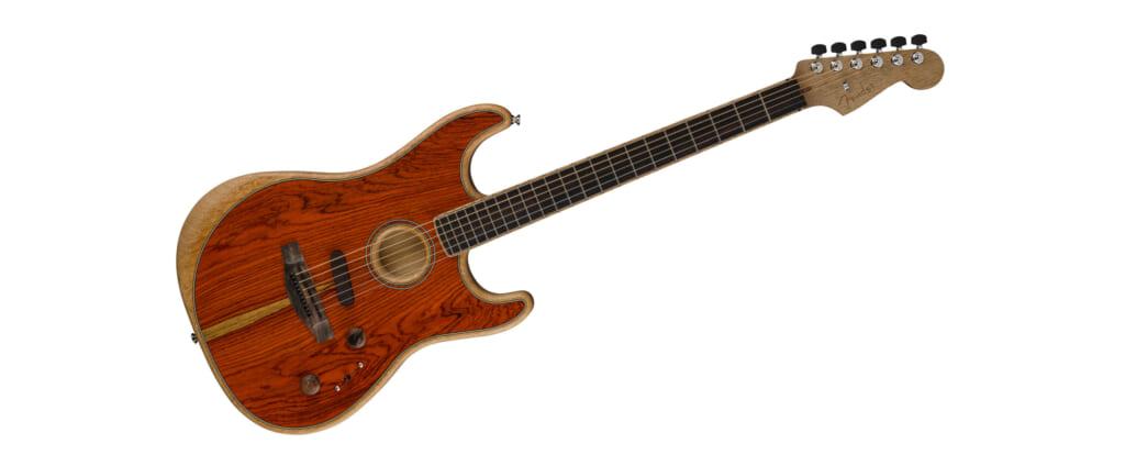 稀少なココボロ材を使ったフェンダーAcoustasonic Stratocasterの限定⽣産モデル