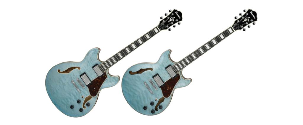 アクアマリン・カラーのキルテッド・メイプルが華やかな、アイバニーズのセミホロウ・ギター