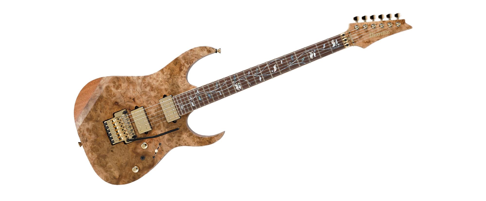 マーブル模様の杢目が豪華なアイバニーズの限定生産ギター