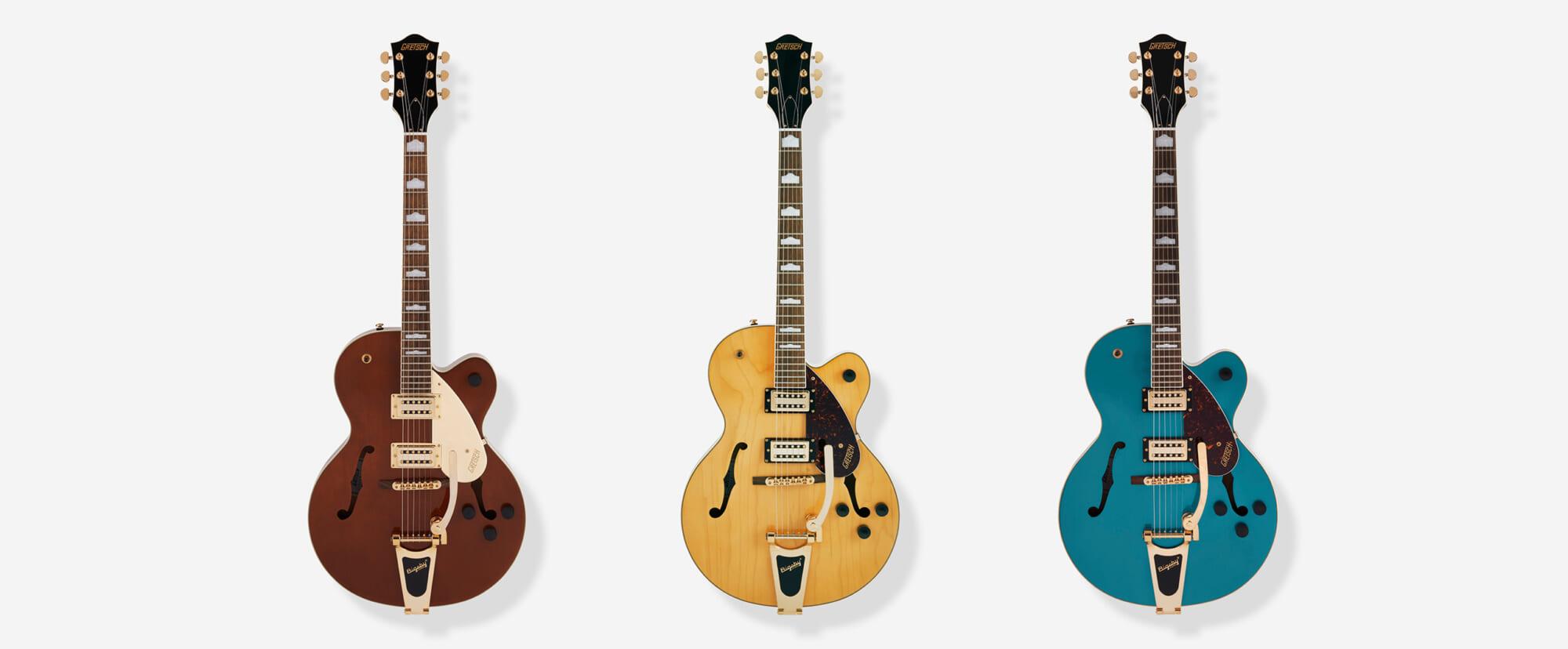 新設計の高出力ピックアップを搭載したグレッチのホロウ・ボディ・ギター